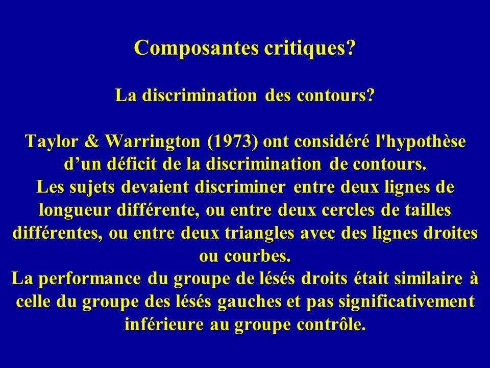 Composantes critiques. La discrimination des contours