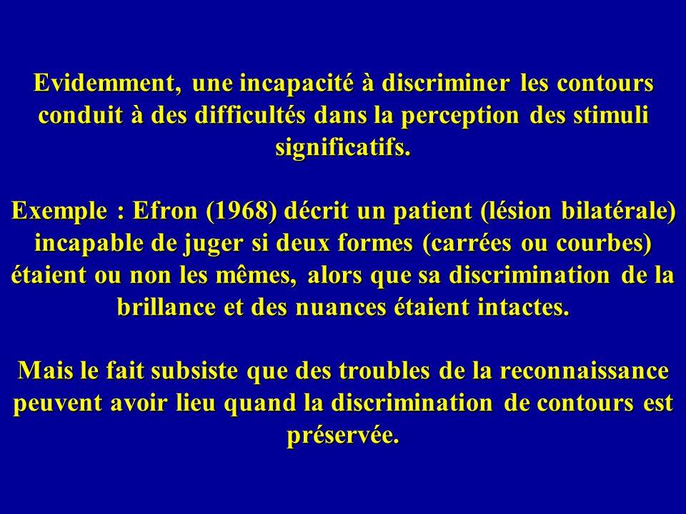 Evidemment, une incapacité à discriminer les contours conduit à des difficultés dans la perception des stimuli significatifs.