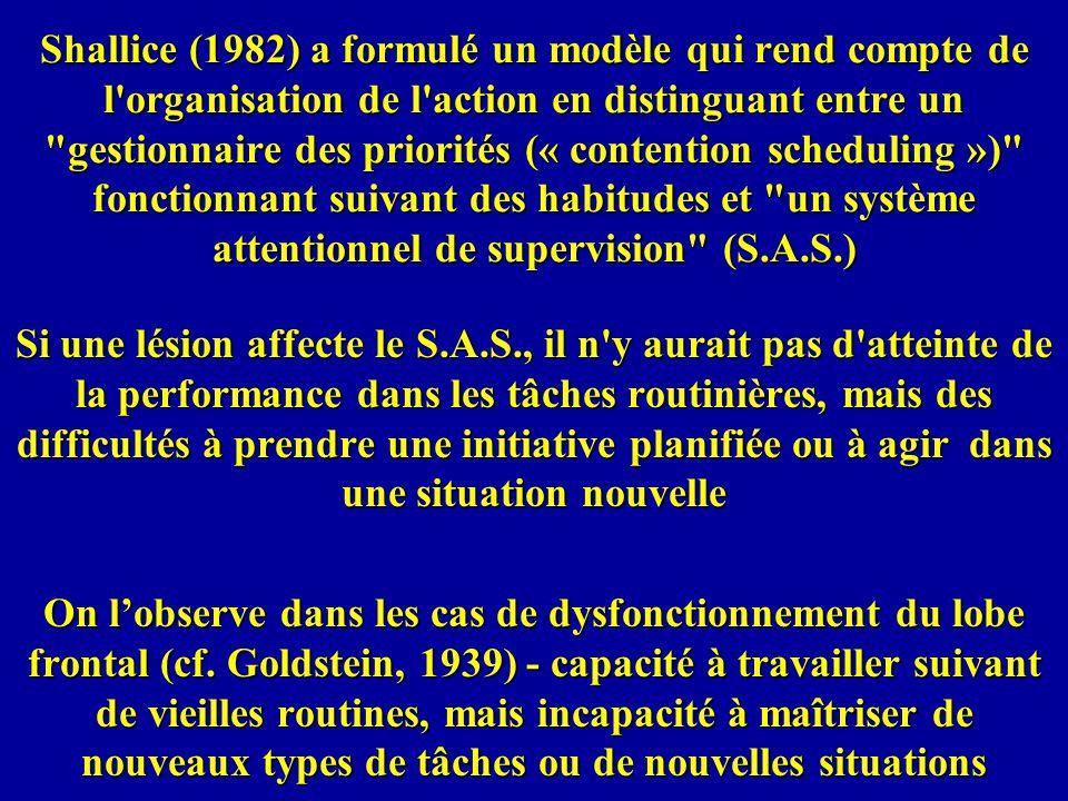 Shallice (1982) a formulé un modèle qui rend compte de l organisation de l action en distinguant entre un gestionnaire des priorités (« contention scheduling ») fonctionnant suivant des habitudes et un système attentionnel de supervision (S.A.S.)