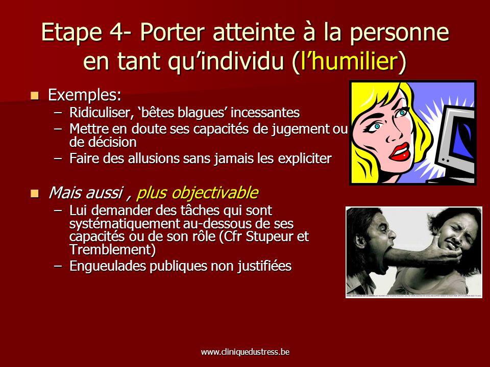 Etape 4- Porter atteinte à la personne en tant qu'individu (l'humilier)