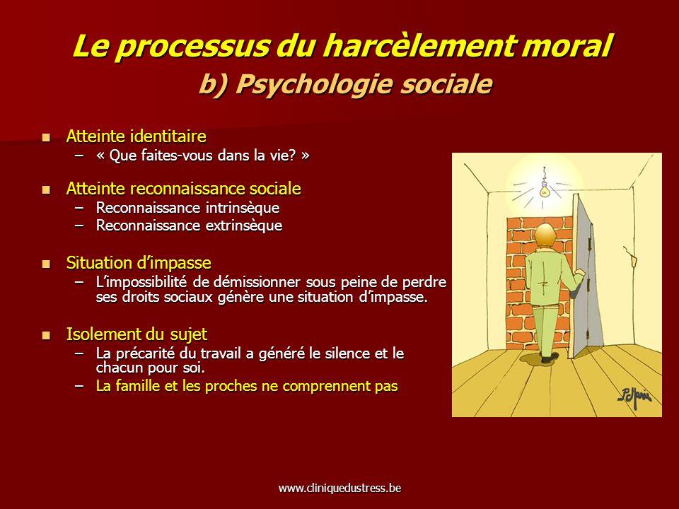 Le processus du harcèlement moral b) Psychologie sociale