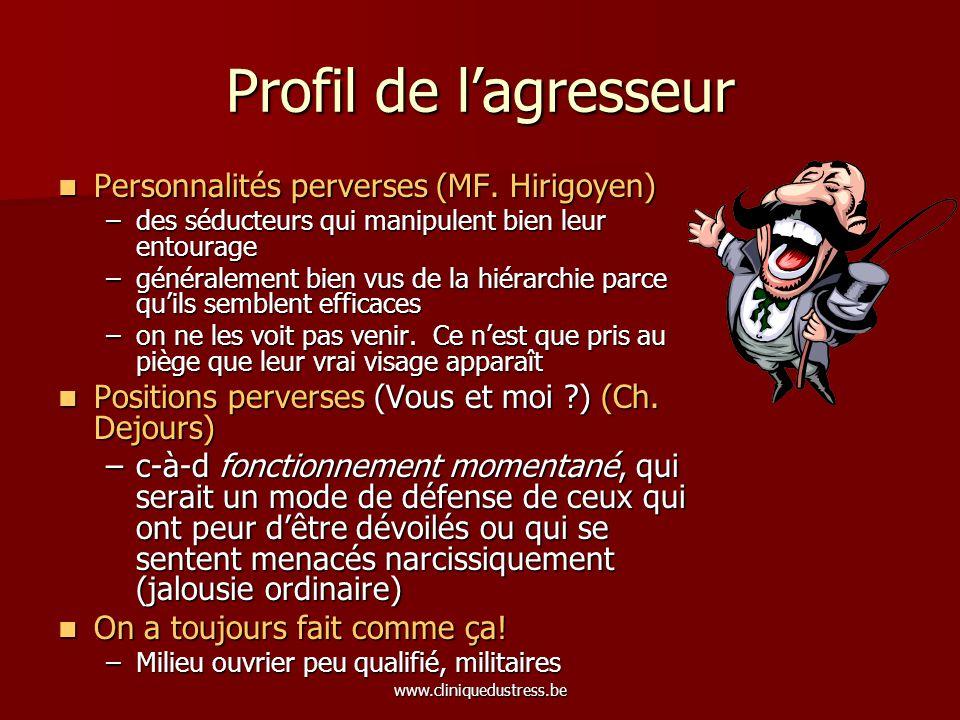 Profil de l'agresseur Personnalités perverses (MF. Hirigoyen)