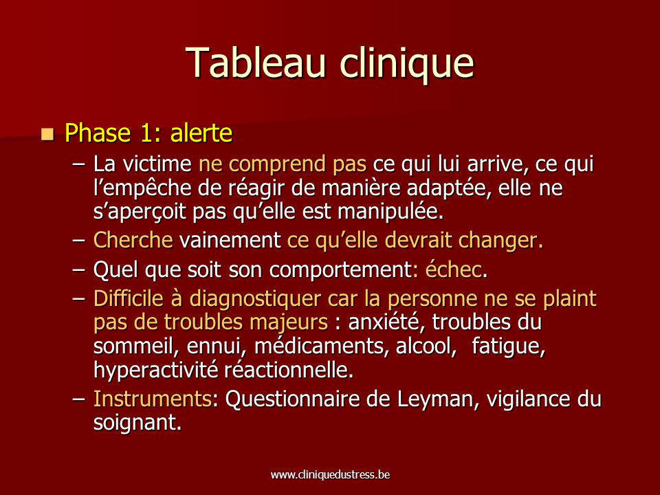 Tableau clinique Phase 1: alerte