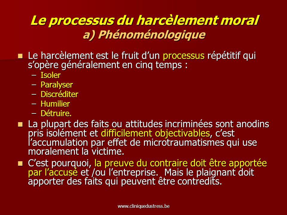 Le processus du harcèlement moral a) Phénoménologique