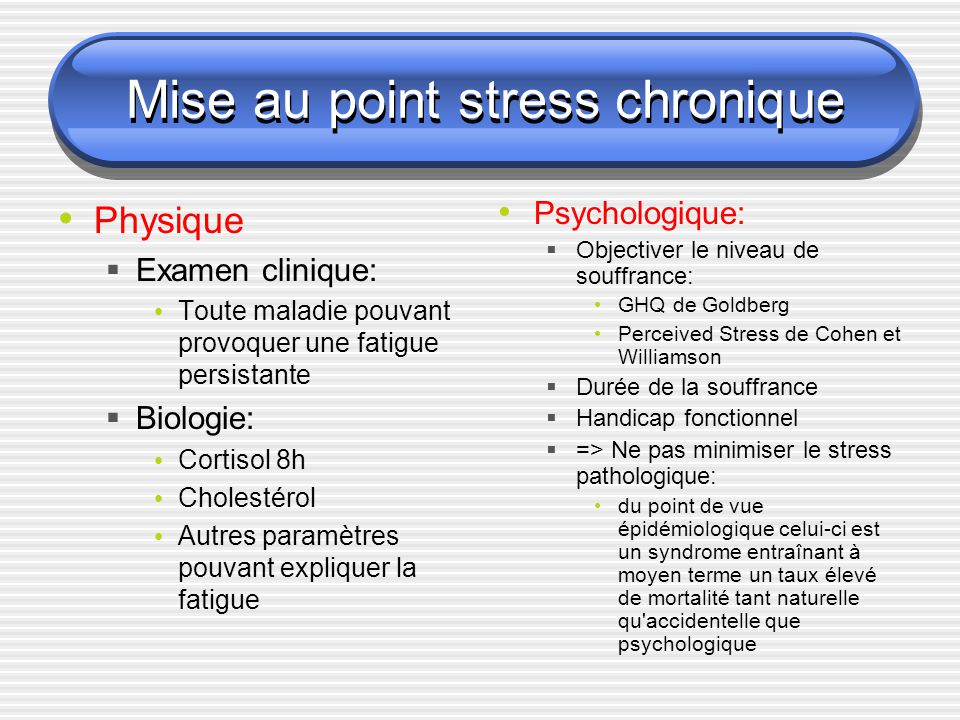 Mise au point stress chronique