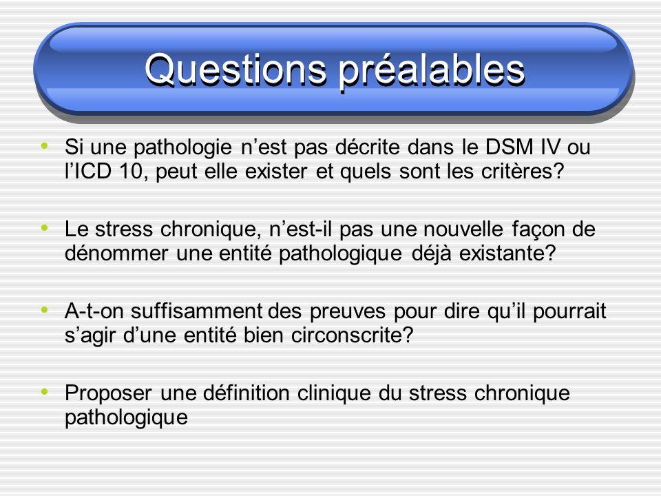 Questions préalables Si une pathologie n'est pas décrite dans le DSM IV ou l'ICD 10, peut elle exister et quels sont les critères