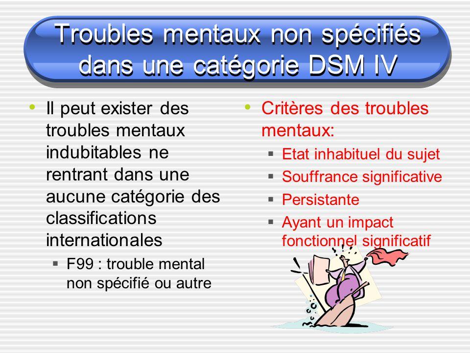 Troubles mentaux non spécifiés dans une catégorie DSM IV