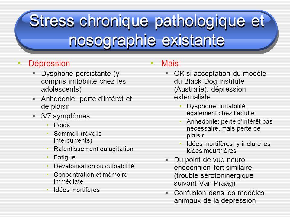 Stress chronique pathologique et nosographie existante