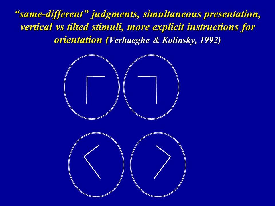 same-different judgments, simultaneous presentation, vertical vs tilted stimuli, more explicit instructions for orientation (Verhaeghe & Kolinsky, 1992)