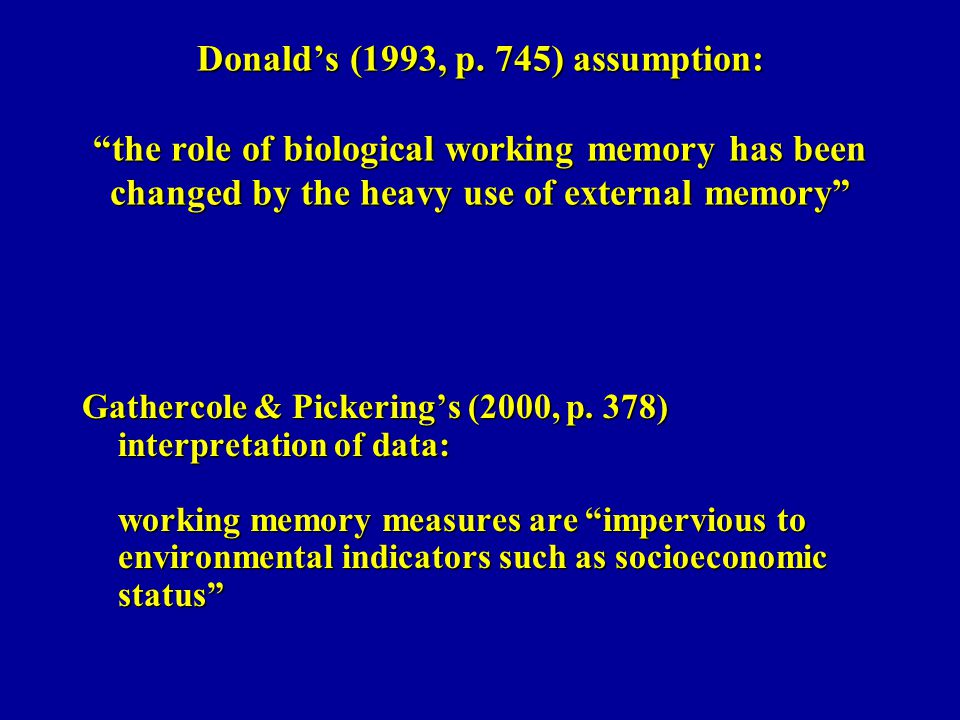 Donald's (1993, p. 745) assumption: the role of biological working memory has been changed by the heavy use of external memory