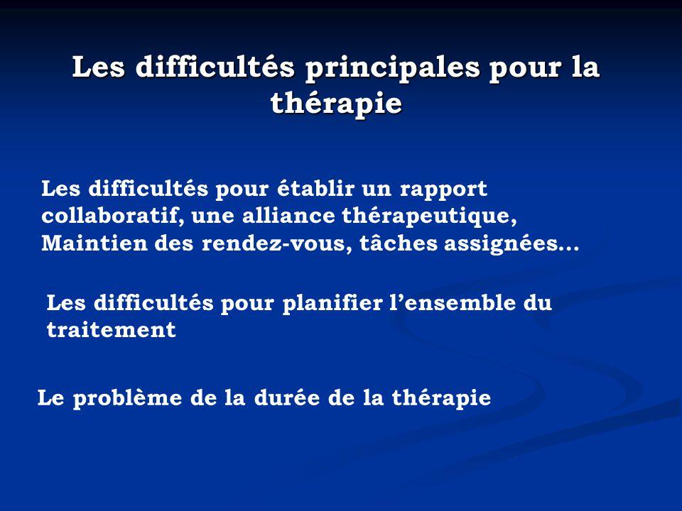 Les difficultés principales pour la thérapie