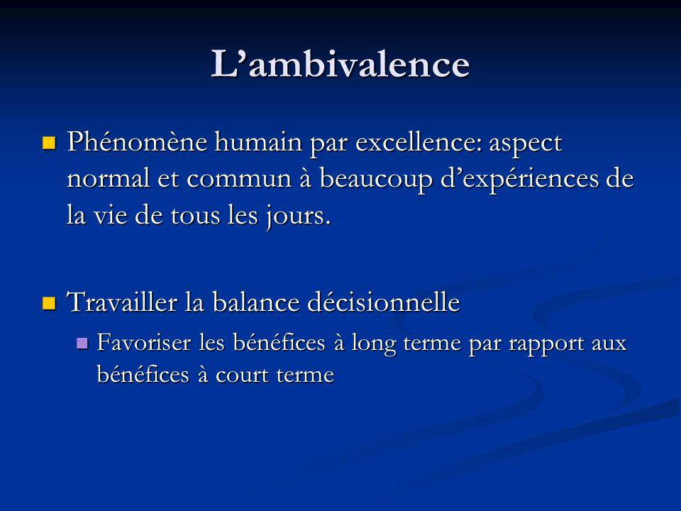 L'ambivalence Phénomène humain par excellence: aspect normal et commun à beaucoup d'expériences de la vie de tous les jours.