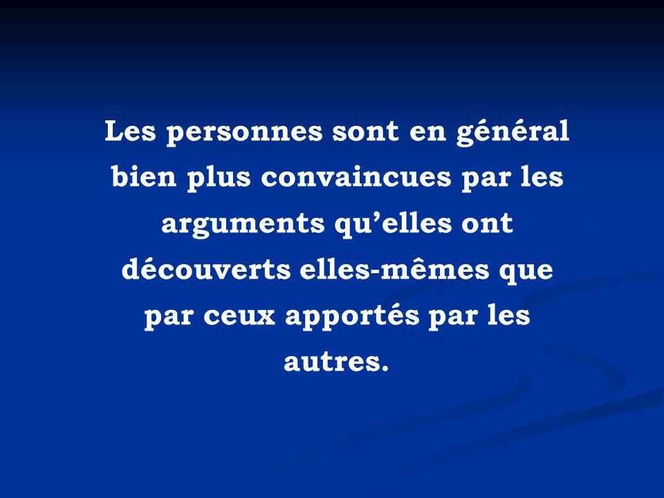 Les personnes sont en général bien plus convaincues par les arguments qu'elles ont découverts elles-mêmes que par ceux apportés par les autres.
