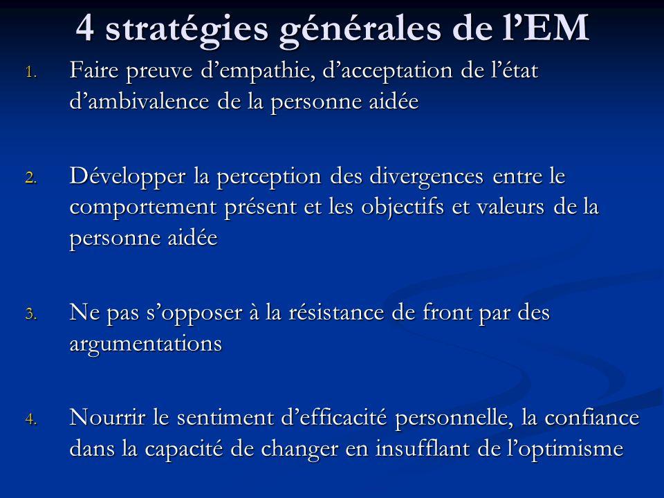4 stratégies générales de l'EM