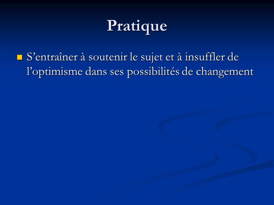 Pratique S'entraîner à soutenir le sujet et à insuffler de l'optimisme dans ses possibilités de changement.