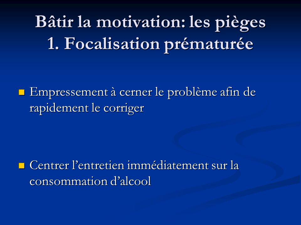 Bâtir la motivation: les pièges 1. Focalisation prématurée