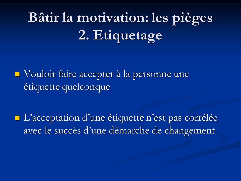 Bâtir la motivation: les pièges 2. Etiquetage
