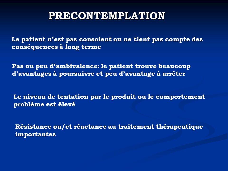 PRECONTEMPLATION Le patient n'est pas conscient ou ne tient pas compte des conséquences à long terme.