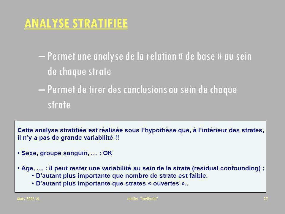 ANALYSE STRATIFIEE Permet une analyse de la relation « de base » au sein de chaque strate. Permet de tirer des conclusions au sein de chaque strate.