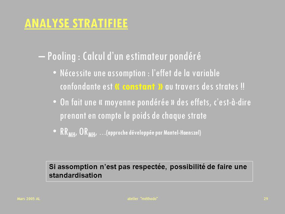 ANALYSE STRATIFIEE Pooling : Calcul d'un estimateur pondéré