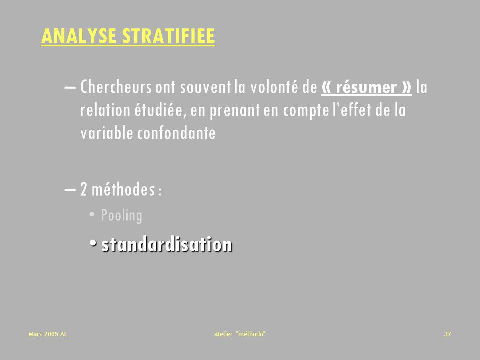 ANALYSE STRATIFIEE standardisation