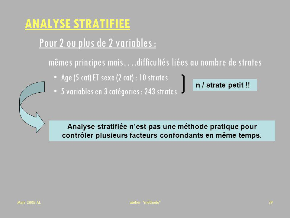 ANALYSE STRATIFIEE Pour 2 ou plus de 2 variables :