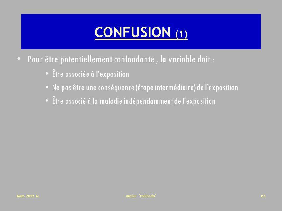 CONFUSION (1) Pour être potentiellement confondante , la variable doit : Être associée à l'exposition.