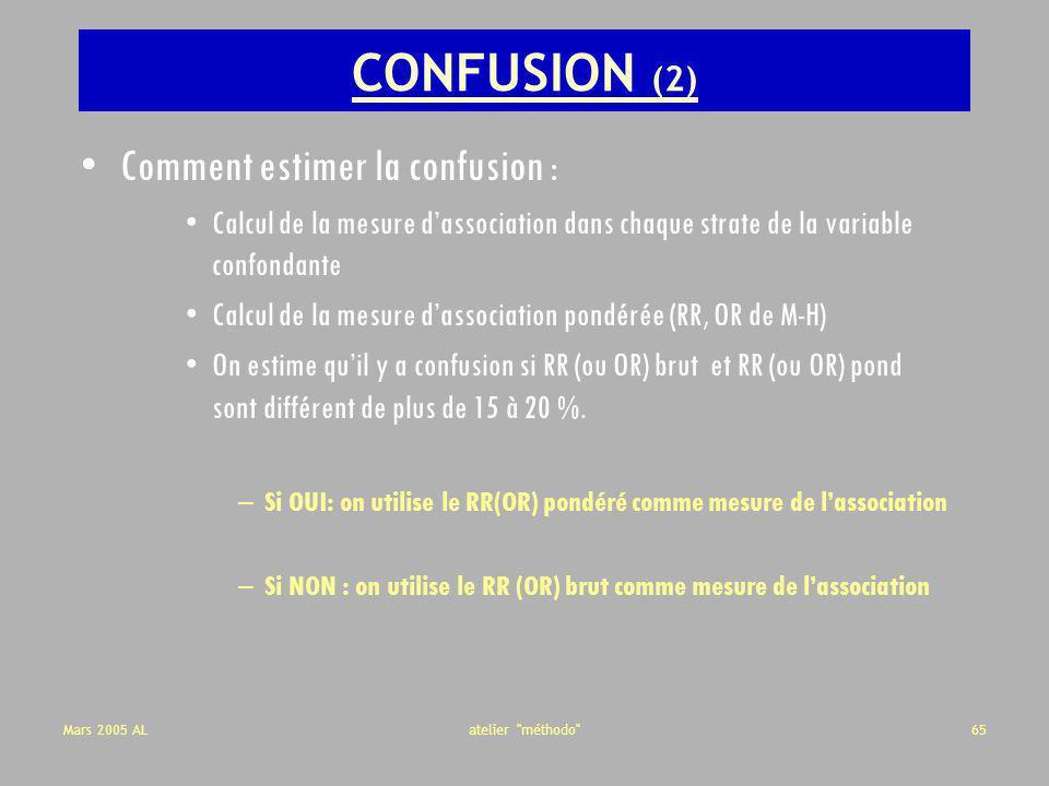 CONFUSION (2) Comment estimer la confusion :