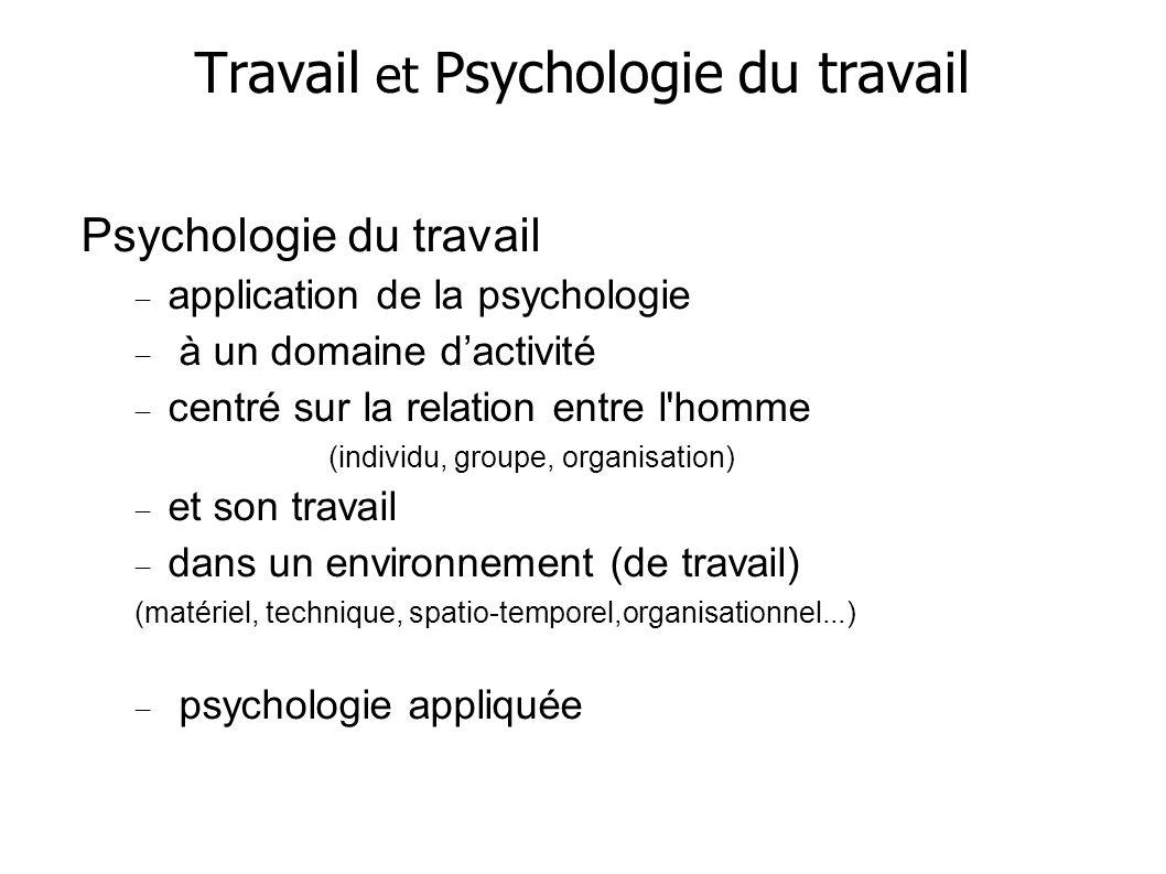 Travail et Psychologie du travail