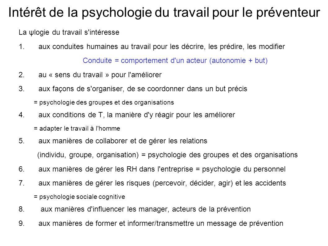 Intérêt de la psychologie du travail pour le préventeur