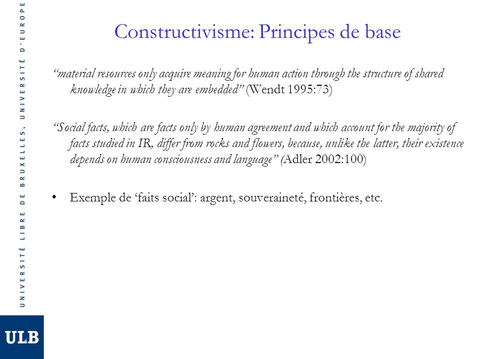 Constructivisme: Principes de base