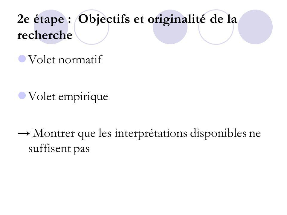 2e étape : Objectifs et originalité de la recherche
