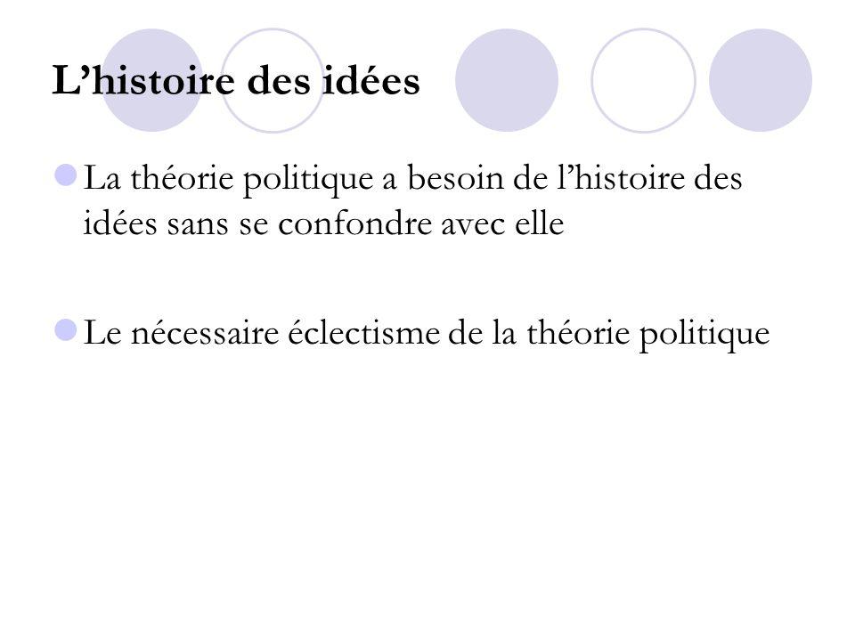 L'histoire des idées La théorie politique a besoin de l'histoire des idées sans se confondre avec elle.