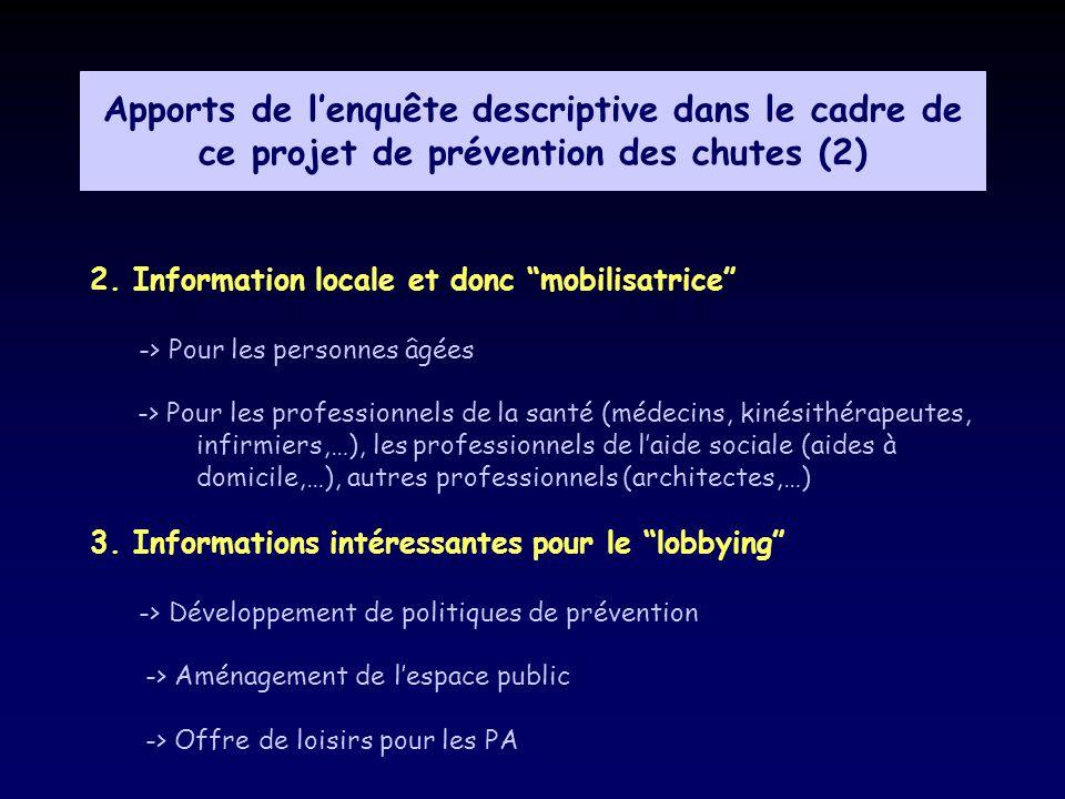 Apports de l'enquête descriptive dans le cadre de ce projet de prévention des chutes (2)