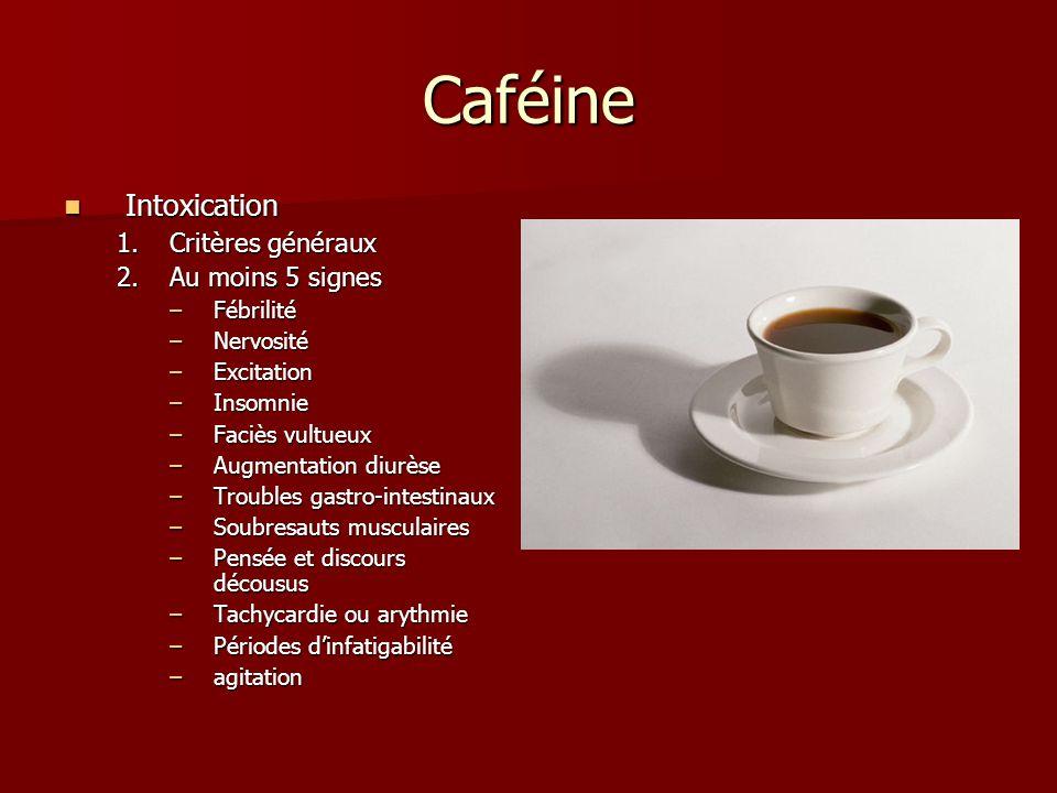 Caféine Intoxication Critères généraux Au moins 5 signes Fébrilité
