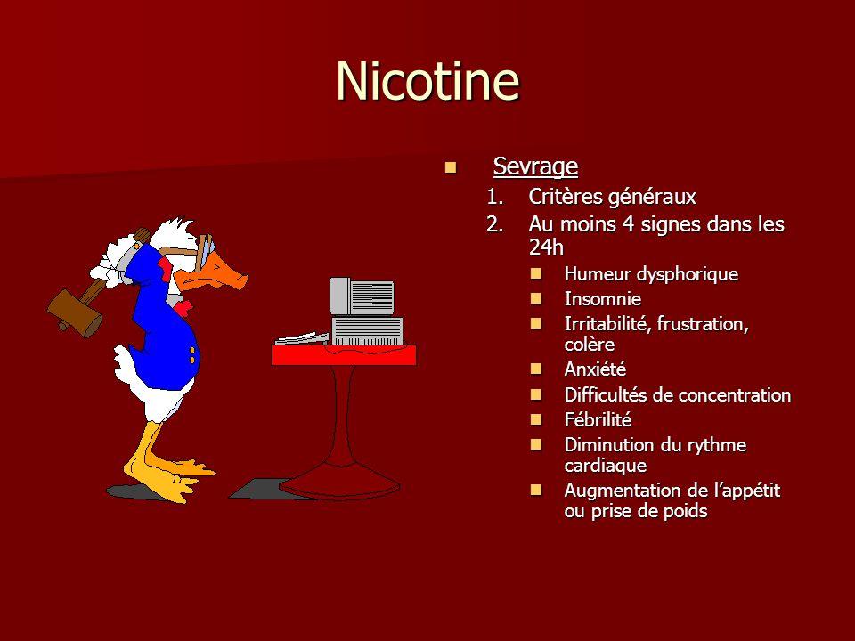 Nicotine Sevrage Critères généraux Au moins 4 signes dans les 24h