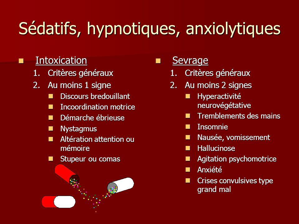 Sédatifs, hypnotiques, anxiolytiques
