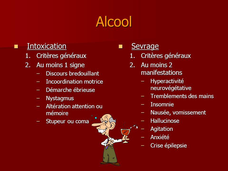 Alcool Intoxication Sevrage Critères généraux Au moins 1 signe