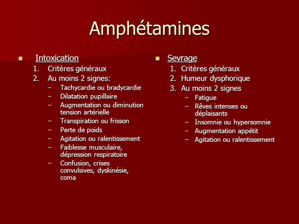 Amphétamines Intoxication Sevrage Critères généraux Au moins 2 signes: