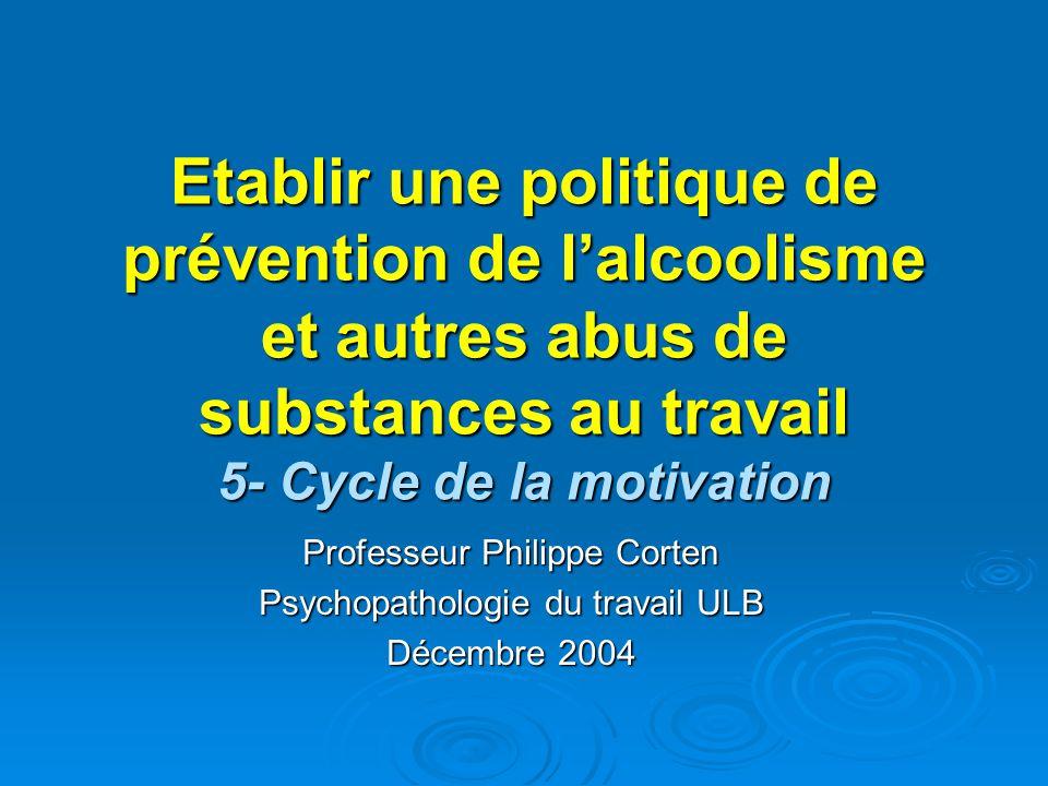 Etablir une politique de prévention de l'alcoolisme et autres abus de substances au travail 5- Cycle de la motivation