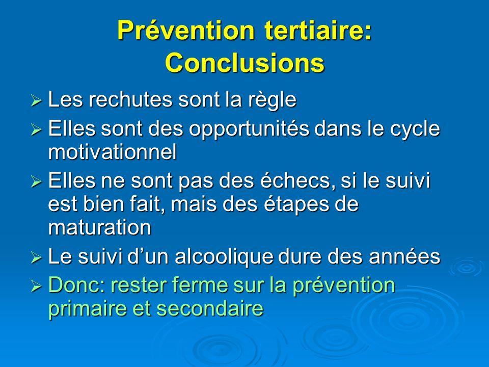 Prévention tertiaire: Conclusions
