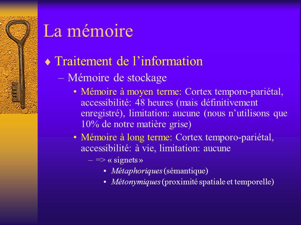 La mémoire Traitement de l'information Mémoire de stockage