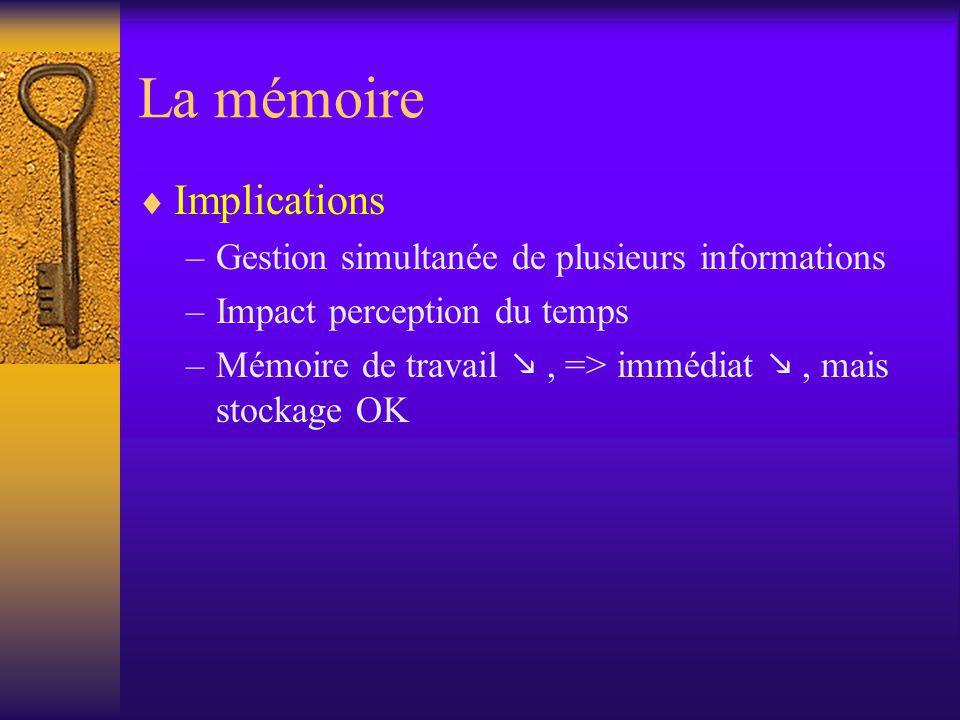 La mémoire Implications Gestion simultanée de plusieurs informations