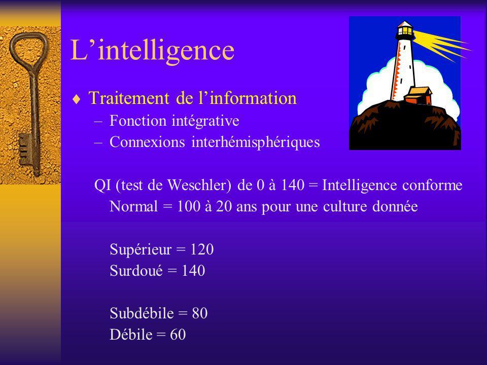 L'intelligence Traitement de l'information Fonction intégrative