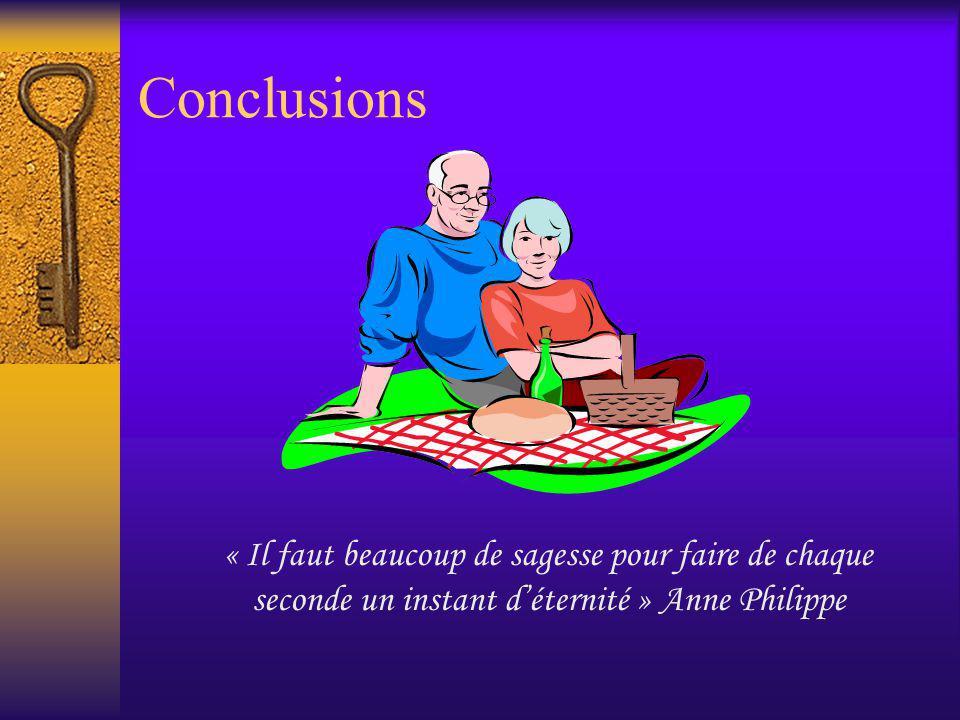 Conclusions « Il faut beaucoup de sagesse pour faire de chaque seconde un instant d'éternité » Anne Philippe.