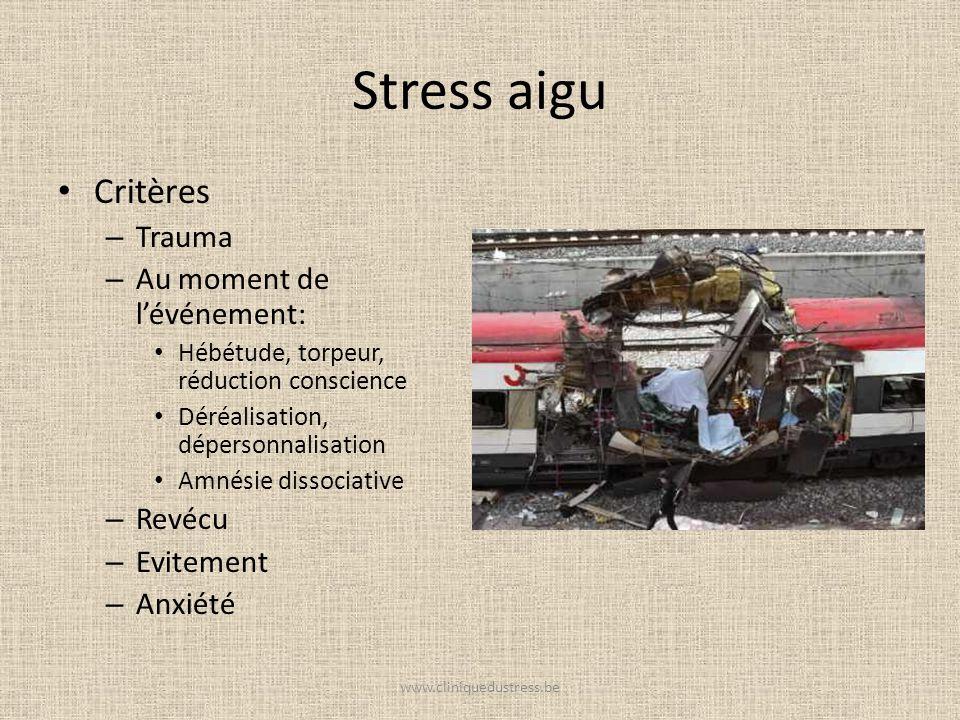 Stress aigu Critères Trauma Au moment de l'événement: Revécu Evitement