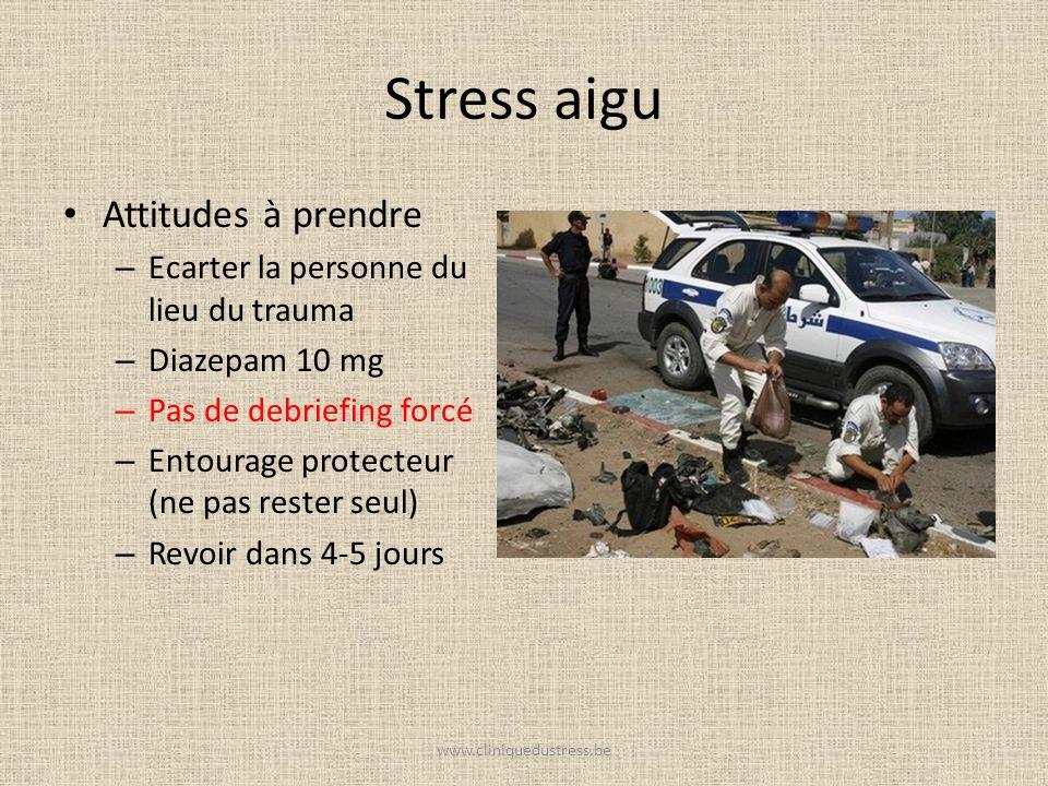 Stress aigu Attitudes à prendre Ecarter la personne du lieu du trauma