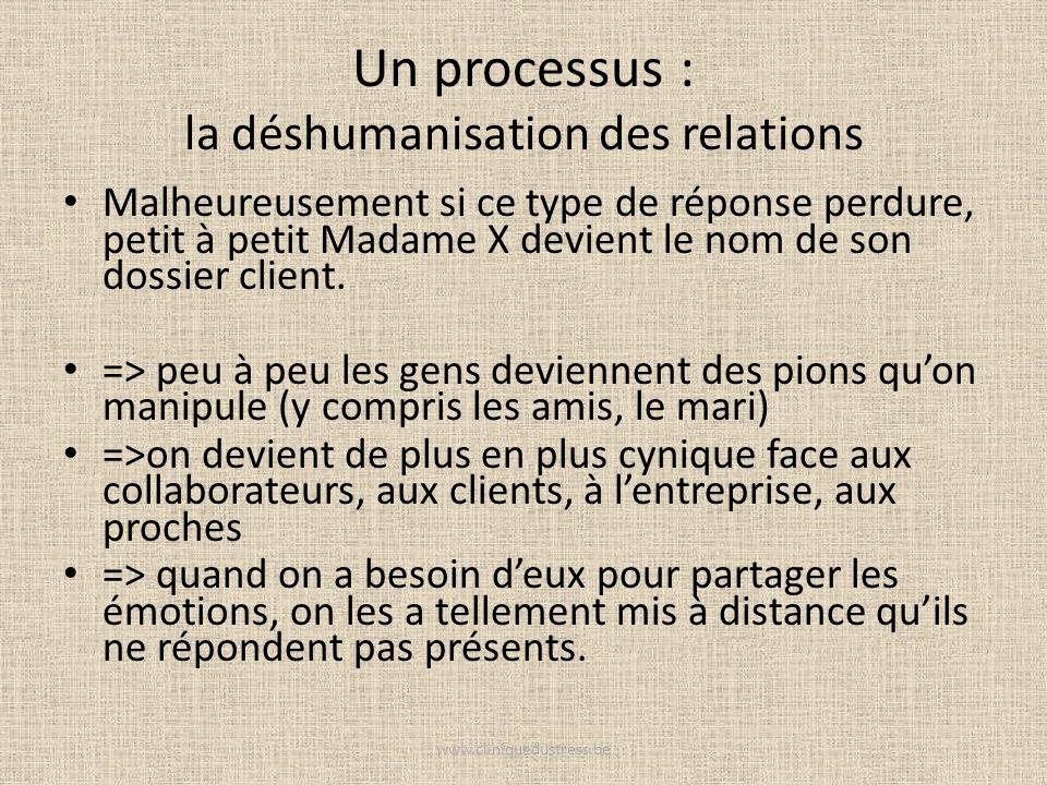 Un processus : la déshumanisation des relations