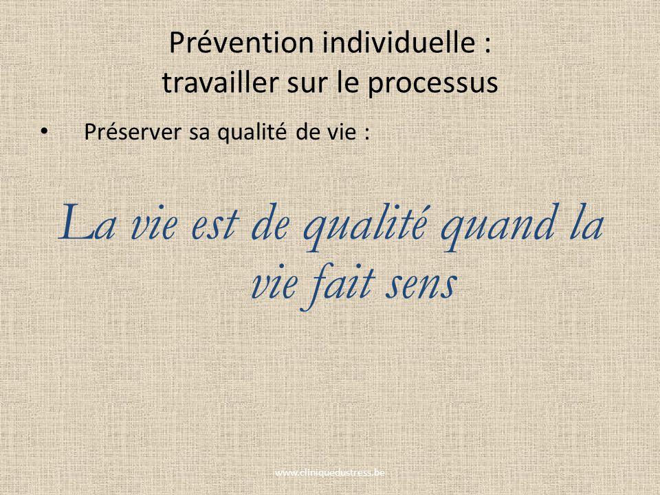Prévention individuelle : travailler sur le processus