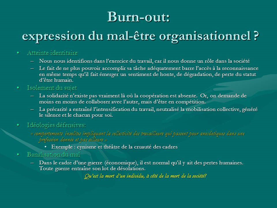 Burn-out: expression du mal-être organisationnel